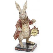 Фигурка декоративная с часами Белый Кролик в медном кафтане 30см