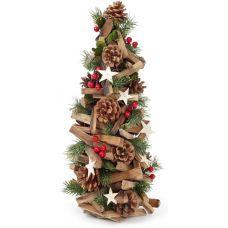 Декоративная елка Звездочка 48см с декором из шишек, ягод и звезд