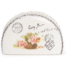 Салфетница керамическая Провансальская Роза (подставка для салфеток) 12х4х8см
