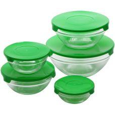 Набор 10 стеклянных мисок Renberg LeJardin Comfort с зелеными крышками