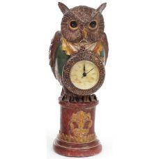 Декоративная фигурка с часами Мудрая Сова в зеленом кафтане 32см