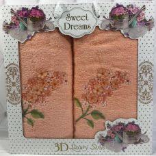Набор 2 махровых полотенца Sweet Dreams Гиацинт (50х90 и 70х140см) персиковое с вышивкой