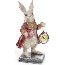 Фигурка декоративная с часами Белый Кролик в красном кафтане 30см