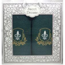 Набор 2 махровых полотенца Sweet Dreams M2 (50х90 и 70х140см) зеленые с вышивкой