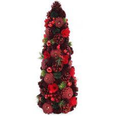 Декоративная елка Красная шишка 48см с натуральными шишками