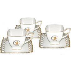 Чайно-кофейный сервиз Золотая Лилия 12 предметов на 6 персон, фарфор, 230мл