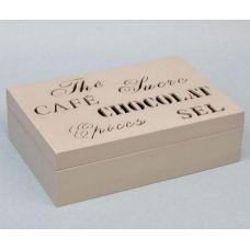 Коробка-шкатулка Chocolate Beige для чая и сахара, 6 секций, 16х24см