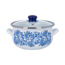 Кастрюля эмалированная Infinity Blue Flowers 1.8л, индукционная