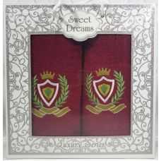 Набор 2 махровых полотенца Sweet Dreams M1 (50х90 и 70х140см) красные с вышивкой