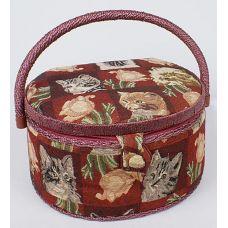 Шкатулка для рукоделия Мастерица Kitten and Roses Oval, 26x23.5x19.5см