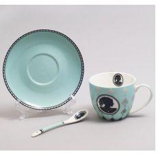 Чайная пара Силуэт бирюзовая чашка 280мл с блюдцем и керамической ложкой