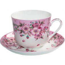 Большая чайная чашка Яблоневый цвет 450мл с блюдцем