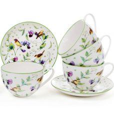 Чайный фарфоровый набор Кантри 6 чашек 210мли с блюдцами (12 предметов)