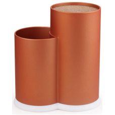 Подставка-колода Fissman Orange для кухонных ножей и ножниц 22х11х17см двойная