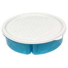 Менажница с крышкой Bager пластиковая на 3 секции Ø20см, голубая