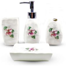 Набор аксессуаров Floral Фиалка для ванной комнаты 4 предмета, керамика