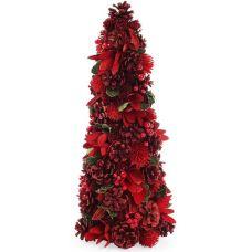 Декоративная елка Красные цветы 48см с натуральными шишками