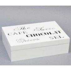 Коробка-шкатулка Chocolate White для чая и сахара, 6 секций, 16х24см