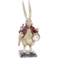 Фигурка декоративная с часами Белый Кролик в красном кафтане 39см
