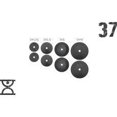 37 кг (2х1.25, 2х2.5, 2x5 и 2x10) дисков, покрытых пластиком (31 мм) (51 мм)