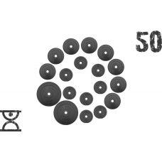 50 кг (2 по 10, 8 по 2,5, 8 по 1.25) дисков, покрытых пластиком (31 мм) (51 мм)