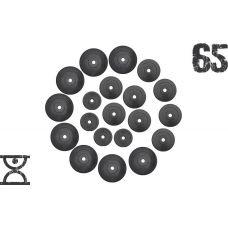65 кг (4 по 1.25, 8 по 2.5, 8 по 5 кг) дисков, покрытых пластиком (31 мм) (51 мм)