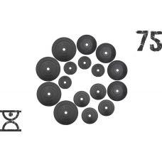 75 кг (4 по 10, 4 по 5, 4 по 2.5, 4 по 1.25) блинов на штангу покрытых пластиком (31 мм)(51 мм)