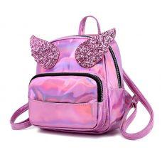 Голограммный рюкзак с крыльями розовый