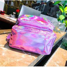 Голограммный рюкзак розовый