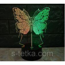 Ночник 3д двухцветный. Бабочка