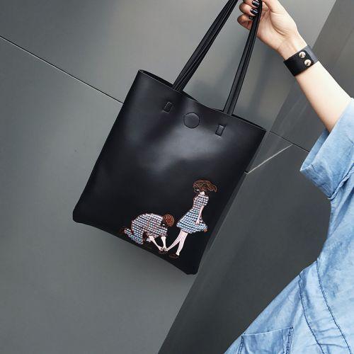 a261853ab555 Черная женская сумка шоппер с вышивкой Китай Сумки комбинированные ...