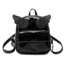 Голограммный рюкзак с крыльями черный