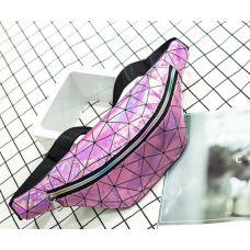 Голограммная поясная сумка, бананка розовая
