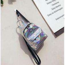 Голограммный рюкзак небольшой серебристый
