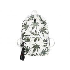 Белый рюкзак с принтом конопли