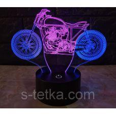 Ночник 3д двухцветный. Мотоцикл