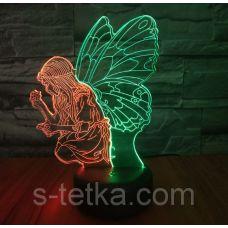 Ночник 3д двухцветный. Девочка с крыльями