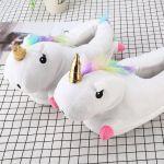 Детски тапочки игрушки Единороги белые,25-33