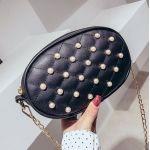 Черная поясная сумка с жемчугом