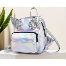 Голограммный рюкзак с крыльями серебристый