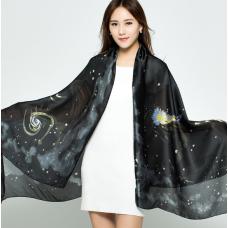 Разноцветный шарф с принтом Космос
