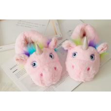 Детские домашние тапочки игрушки Единороги, 33-35 розовый