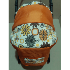 301 Кукольная коляска-трансформер 2в1 с переноской Adbor Mini Ring (оранжевый, цветы желтые на белом)