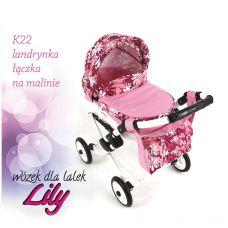 302 Кукольная коляска LILY TM Adbor (К22, розовый светлый, цветы новые на малиновом)