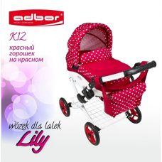 302 Кукольная коляска LILY TM Adbor (К12, красный, горошек на красном)