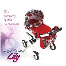 302 Кукольная коляска LILY TM Adbor (К24, красный, цветы новые на черном)
