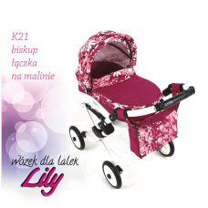 302 Кукольная коляска LILY TM Adbor (К21, малиновый, цветы новые на малиновом)