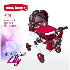 302 Кукольная коляска LILY TM Adbor (К18, красный, цветы на черном)