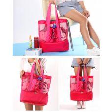 Летняя сумка для пляжа Play&Joy (термосумка). Малиновая